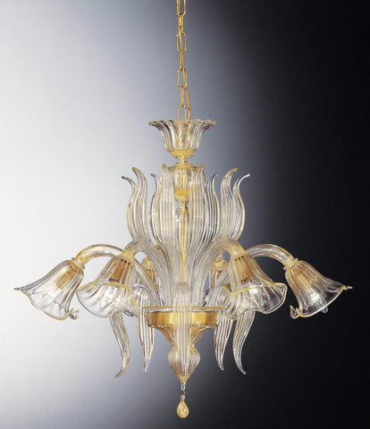 Clear Murano glass chandelier with 6 golden lily-shaped lights