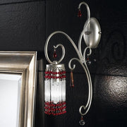 Art deco style silver or gold wall light with glass rods