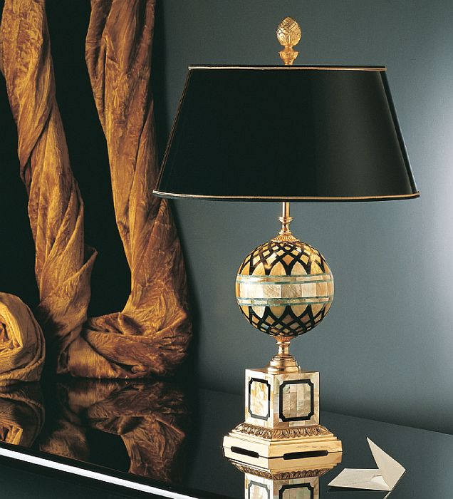 Classic Italian Table Lamp With Gold Black And Jade Mosaic 1799a 01