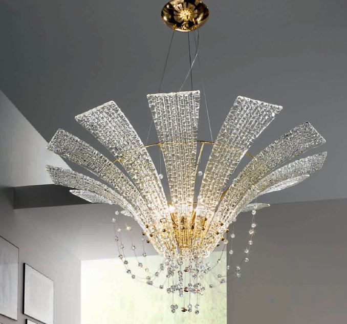 Modern Clear Murano Glass Chandelier Swarovski Crystal Gold Chandelier Italian Lighting Centre