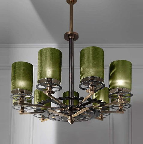 Luxurious industrial chic chandelier with green shades