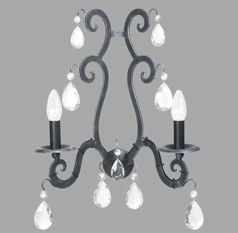 Black Metal and Glass Crystals Double Lamp Sconce