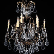 9 Light French Gold Chandelier with Bohemian Crystals