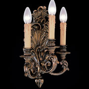 Antique-style Italian brass oxide triple wall light