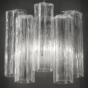 Mid-century clear Tronchi style wall light in Murano glass