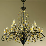18 Light black and gold Italian chandelier