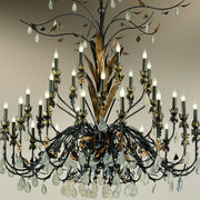 36 light Italian iron chandelier with glass droplets