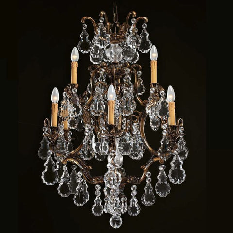 Gold oxide chandelier with Bohemian crystals