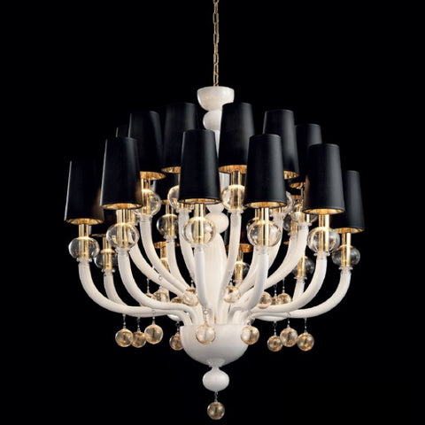 Glamorous black or white chandelier with gold frame