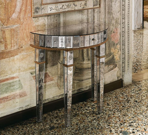 Beautiful etched Venetian mirror console
