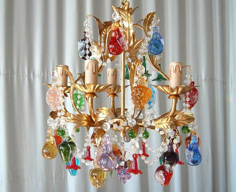 5 light Murano chandelier with solid glass fruits