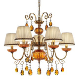 Five Arm Amber Gold Chandelier
