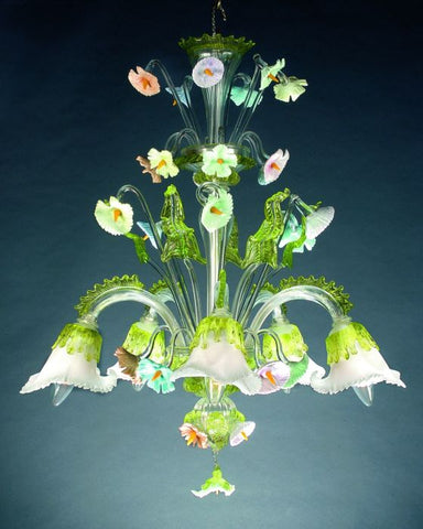 Murano glass chandelier with white and green lilies