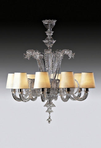 Murano glass chandelier with White Shades