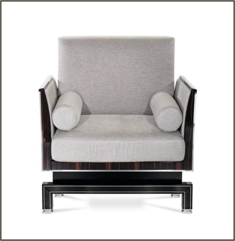 Luxurious black-framed armchair in the art deco style
