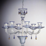 Blue and gold Murano glass chandelier