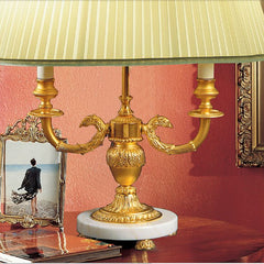 Gold-plated Italian table lamp with white marble base