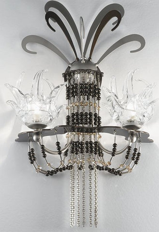 'Exotic' nickel wall light with Swarovski and Murano crystals