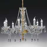 Brass & 24% lead crystal chandelier with 8 lights