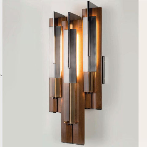 Modern high-end wooden wall light with LED strips