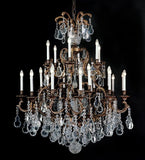 24 Light Brass Chandelier with Bohemian Crystals