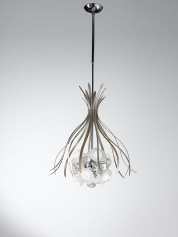 Modern Ceiling Pendant with Murano Glass Roses