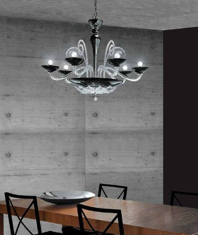 Chrome and Black Glass Chandelier