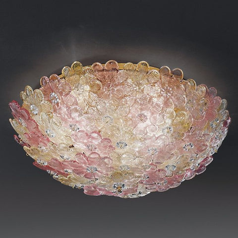Italian floral ceiling light pink and gold glass flower ceiling pretty ceiling light with pastel and gold coloured glass flowers aloadofball Gallery