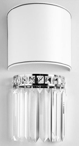 Palladium wall light with Italian clear crystal baguettes
