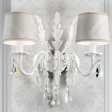 All-white classic leaf wall chandelier with shades