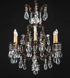 6 Light Brass Chandelier with Bohemian Crystals