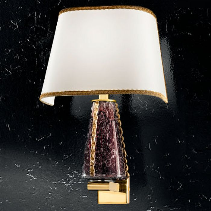 Amethyst and gold Murano glass wall light