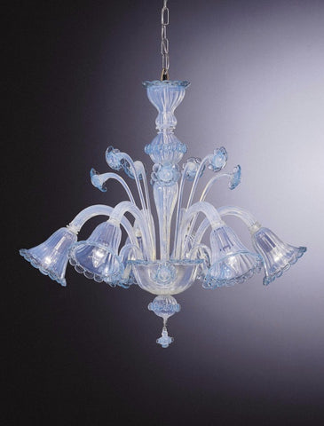 Opalescent aquamarine Murano glass chandelier