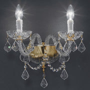 Classic double Italian lead crystal and gold wall sconce