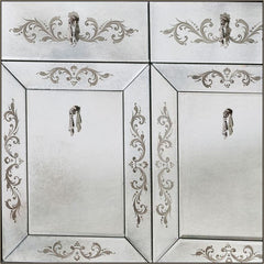 Exquisite engraved Venetian mirror bathroom vanity