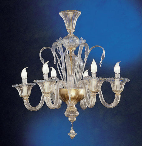 Fine 6 light Murano glass chandelier with 24 carat gold trim