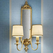 Classic brass double wall light with mirror