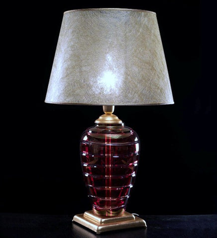 Elegant red Italian crystal table lamp with shade