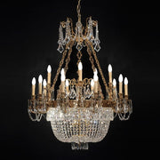 21 Light French Gold Chandelier with Crystals