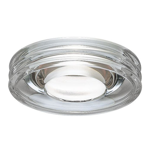 Circular clear glass semi recessed ceiling light