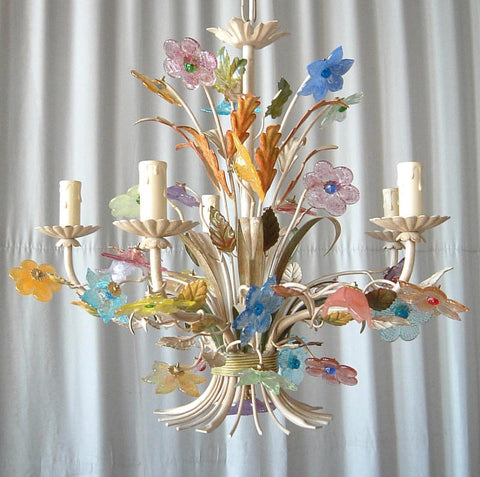 Pretty 5 light chandelier with pastel Murano glass flowers