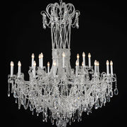 24 Light silver chandelier with Bohemian crystals