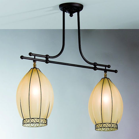 Amber Venetian glass two light ceiling light with 'scavo' finish
