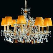 8 Light crystal pendant chandelier with organza shades