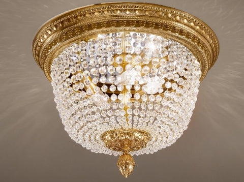 Gold flush ceiling fitting crystal ceiling light italian bohemian crystal flush ceiling light aloadofball Gallery