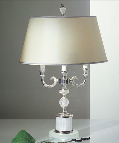 Classic palladium table light with frosted crystal glass base