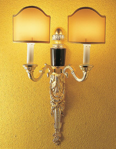 Black Belgian marble 24 carat gold-plated wall light from Italy