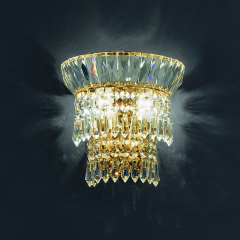 Italian 24% lead crystal wall lamp with gold or nickel frame