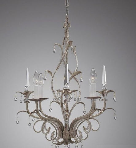 Chandelier in Dark Silver Metal with Glass Crystals
