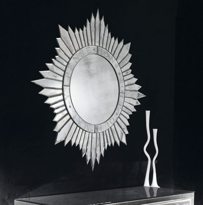 f80d4c480f861 Silvered sun-burst wall mirror in the art deco style